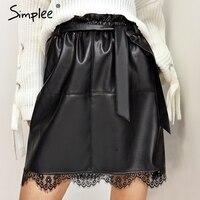 Simplee Parperbag Lace Bottom Lether Skirt Women Belt High Waist Short Skirt 2017 Autumn Winter Pocket
