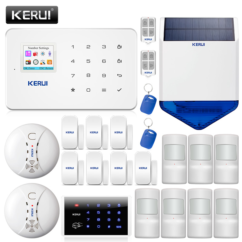 Kerui G18 Home Security Alarm System GSM Burglar Alarm Motion Detector Wireless Smoke Detector Work with IP WiFi Camera