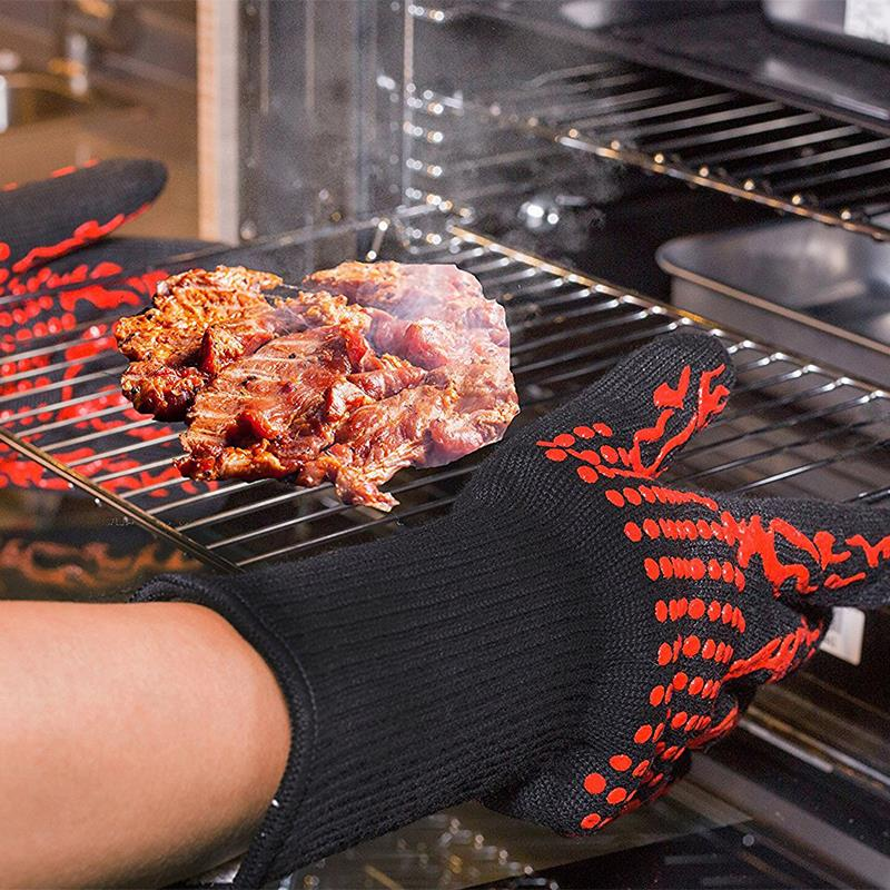 1 Pair Heat Resistant Bbq Gloves Oven Mitts Baking Glove Multi Purpose Grilling Cooking Barbecue Kitchen In Sleeves From