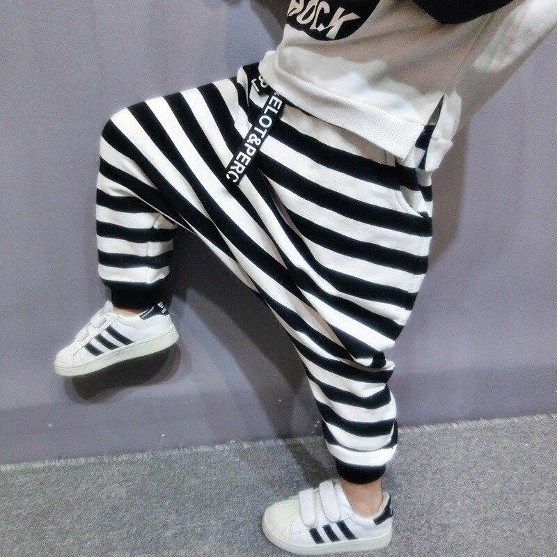 2-6 anos Meninos Harem Pants Estilo Coreano Black & White Stripe Crianças Inverno Quente Forro de Veludo Calças KF970