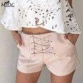 Chiffon High Waist zipper shorts pants 2017 spring Fashion Solid Loose Drawstring thin shorts