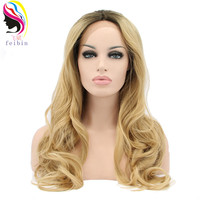 Feibin Lace Front Blonde Wig For Women Synthetic Wavy High Temperature Fiber Hair 24inches 60cm E27