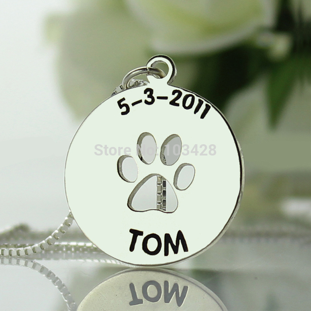 Children Name Bar Necklace Personalized Dog Paw Necklace Sterling Silver Monogram Pendant Cute Charm for Baby Birthday Gift