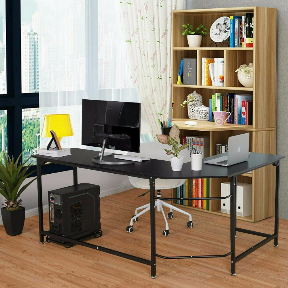 Goplus L Shaped Corner Computer Desk PC Laptop Study Table Workstation  Office Black HW56370BK