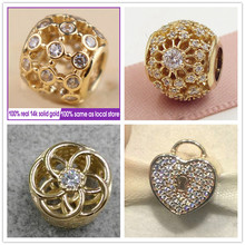Openwork love Charm 14K solid gold clip hearts beads Fit 925 sterling silver bracelets DIY for women Jewyuer wholesale GD071