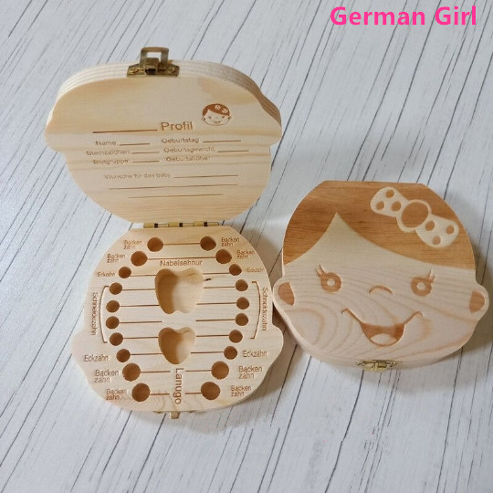 Tooth Box Storage Portugue German English Spanish French Italian Text Baby Boy Girl Wood Case Milk Teeth Collect TeethSave