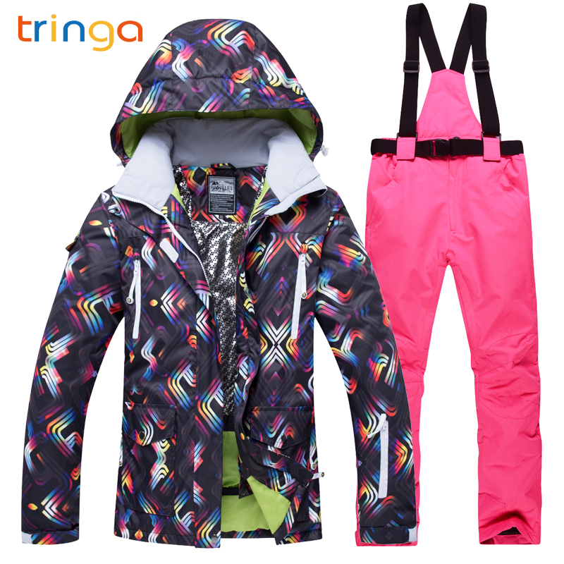 TRINGA Brands Ski Suit Women Outdoor Thermal Waterproof Windproof Breathable Snow Jackets pants Set Winter Skiing Snowboard Suit top quality womens skiing suit sets windproof waterproof thermal snowboard jackets and pants girl winter cotton snow dress