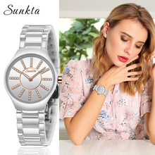 SUNKTA Fashion Simple Style Women Watches Ladies Top Brand Luxury Ceramic Quartz Watch Female Bracelet Clock Ms Relogio Feminino brand women watch fashion leather thin belt quartz watch ladies luxury bracelet watches female clock relogio feminino joyl