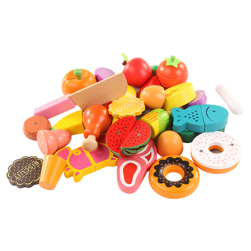 Wooden baby Kitchen toys set for kids play set cutting fruit vegetable early education food toys For Girls utoysland cutting toys kitchen food toys fruit fish vegetable blocks children lovely wooden toys play house toy for baby kids