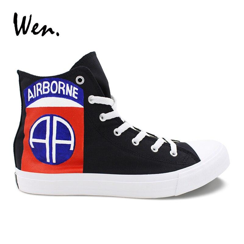 Wen Design peint à la main noir chaussures 82nd aéroporté Division toile baskets personnalisé femmes hommes chaussures vulcanisées Espadrilles plat