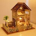 Бесплатная Доставка Сборка DIY Миниатюрный Комплект Модель Деревянная Кукла Дом, Квартира В Париже, Дом Игрушки с Мебелью