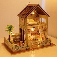 الشحن مجانا تجميع عدة ديي نموذج مصغر بيت الدمية الخشبية ، باريس شقة منزل لعبة مع اثاث