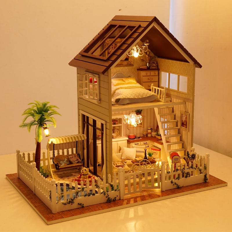 New Doll House Toy Miniature Wooden Doll House Loft With: Free Shipping Assembling DIY Miniature Model Kit Wooden