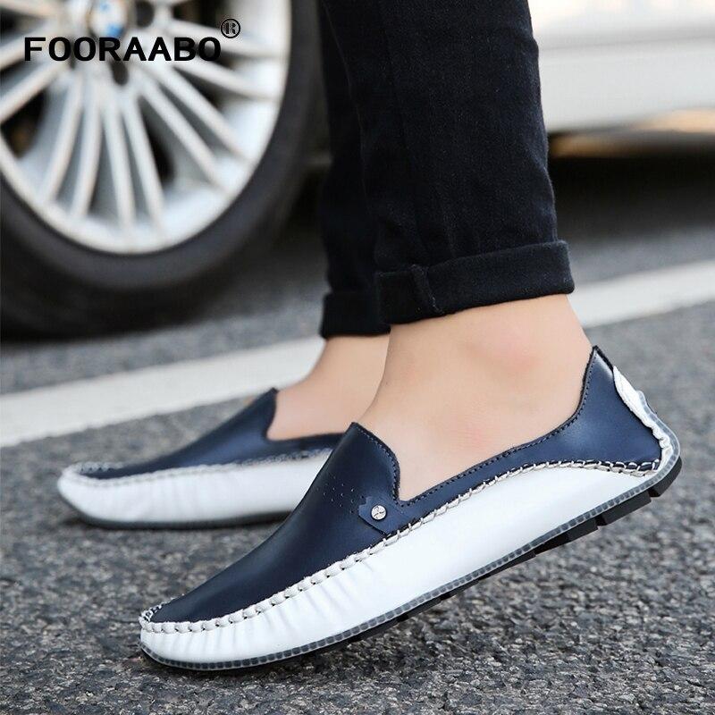Cuir Style Appartements Doux 2018 Mode D'été Conduite Marque De Véritable blanc Bleu Gommino Haute En Qualité Mocassins Hommes Chaussures BwIwRP