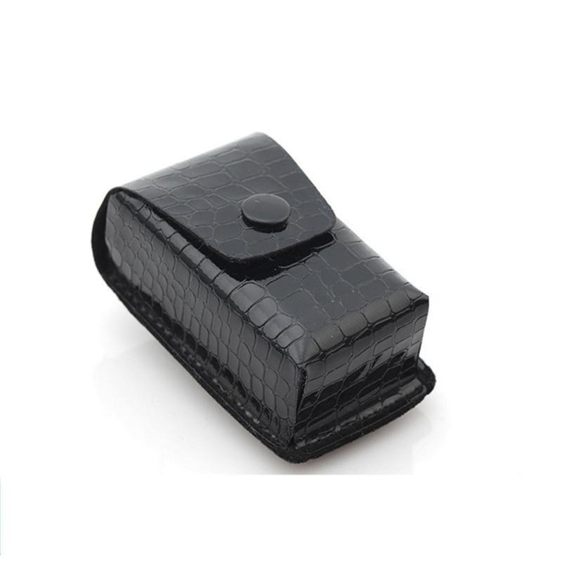 New Arrival Men's Portable Folding Ultra-light Glasses Black Case Leather Belt Glasses Cases Free Shipping