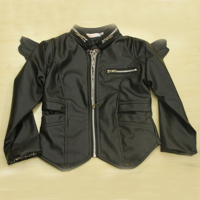765122b1e retail- AUTUMN angel wings PU leather motorcycle jacket for age 2-7 child  girl