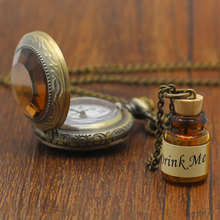 Alice In Wonderland Vintage Glass Bottle With A Pocket Watch