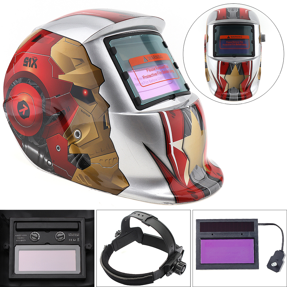 Silver Iron Man Adjust Solar Auto Darkening TIG MIG Grinding Welding Helmets / Face Mask / Electric Welding Mask / Weld Cap ck tech auto darkening welding helmets electric welding hood mask tig mig arc welding face shields optical filter 3116