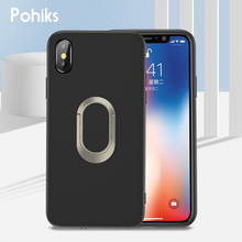 Pohiks Soft TPU Silicone Back Cover For iphone 8 7 plus Ring Stand Phone Case iPhone XS Max XR X Plus Fundas