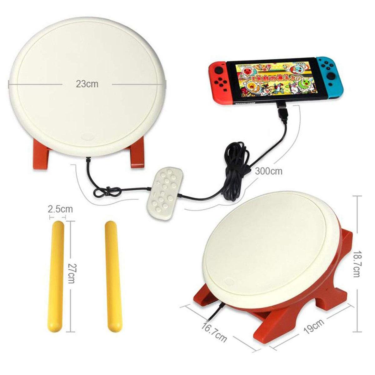 Pour batterie Taiko Compatible avec n-switch, contrôleur de batterie Taiko baguettes de batterie accessoires de jeux vidéo compatibles avec Nintendo Swi - 4