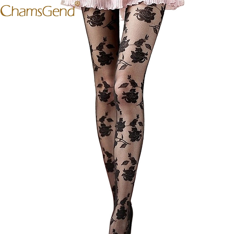 Chamsgend Newly Design Women Rose Flowers Mesh Tights Pantyhose Female Sexy Tight 71012 Drop Shipping