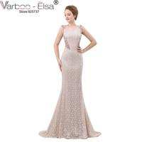 VARBOO ELSA Luxury Crystal Beading Evening Dress Sexy Back Transparent Long Mermaid Prom Dress Beige Lace