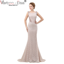 VARBOO_ELSA Luxury Crystal Beading Evening Dress Sexy Back Transparent Long Mermaid Prom Dress Beige Lace vestido de festa 2018