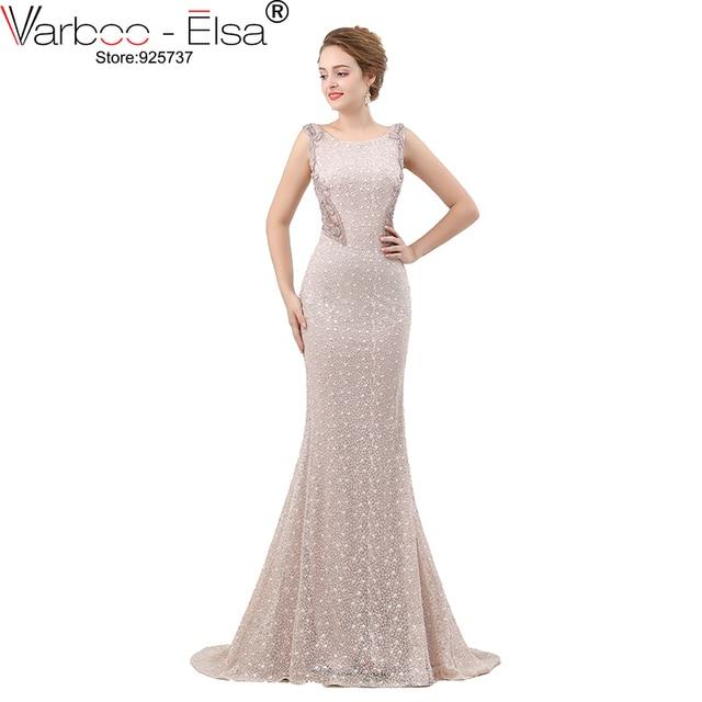 VARBOO_ELSA Luxury Crystal Beading Evening Dress Sexy Back Transparent Long Mermaid Prom Dress Beige Lace vestido de festa 2018