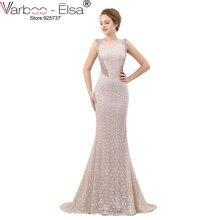 VARBOO_ELSA luxe cristal perles robe de soirée Sexy dos Transparent longue sirène robe de bal Beige dentelle vestido de festa 2018