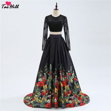 TaoHill Two Pieces Flowers Print Dress A-line Long Sleeves Wedding Formal  Gowns Lace Backless Floral Bridesmaid Dresses 44a06d7bad04