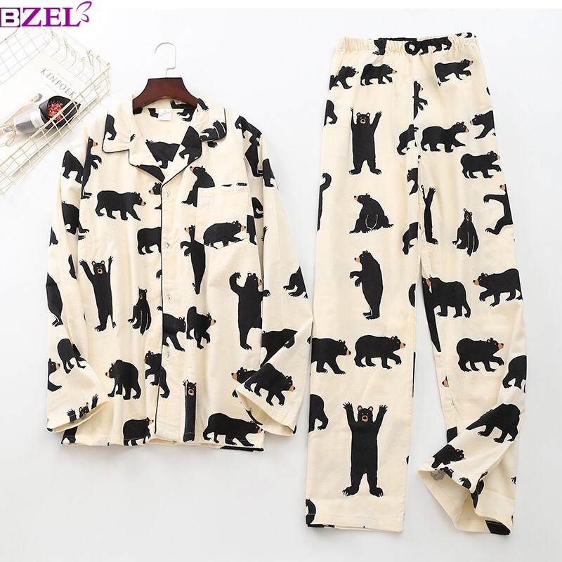 Pajama-Sets Homewear Sexy Cotton Bear Cute White Casual Animal Autumn Mujer Men 100%Brushed title=