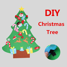 Kids DIY Felt Christmas Tree with Ornaments Children Christmas Gifts for 2018 New Year Door Wall Window Hanging Xmas Decorations