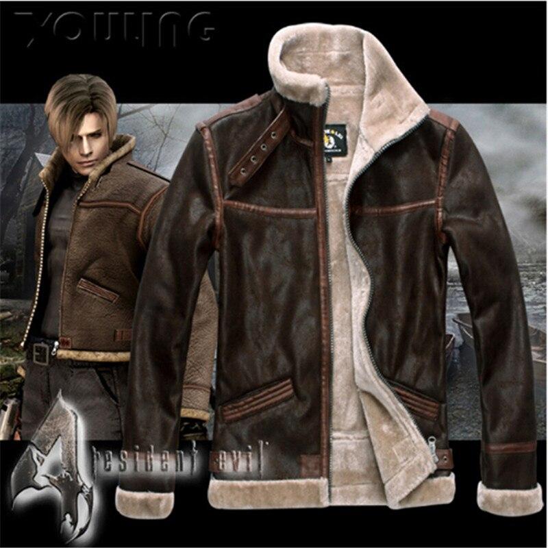 d1dfb50507c Resident Evil 4 Leon S Kennedy Costume Leather Coat Jacket PU Faur Jacket  Long-sleeve Winter Outerwear Coat