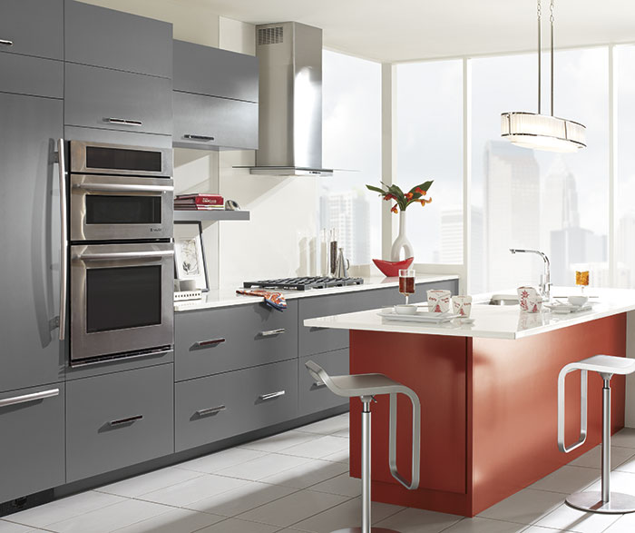 High Gloss Blood Red Color Kitchen Design K019-in Kitchen