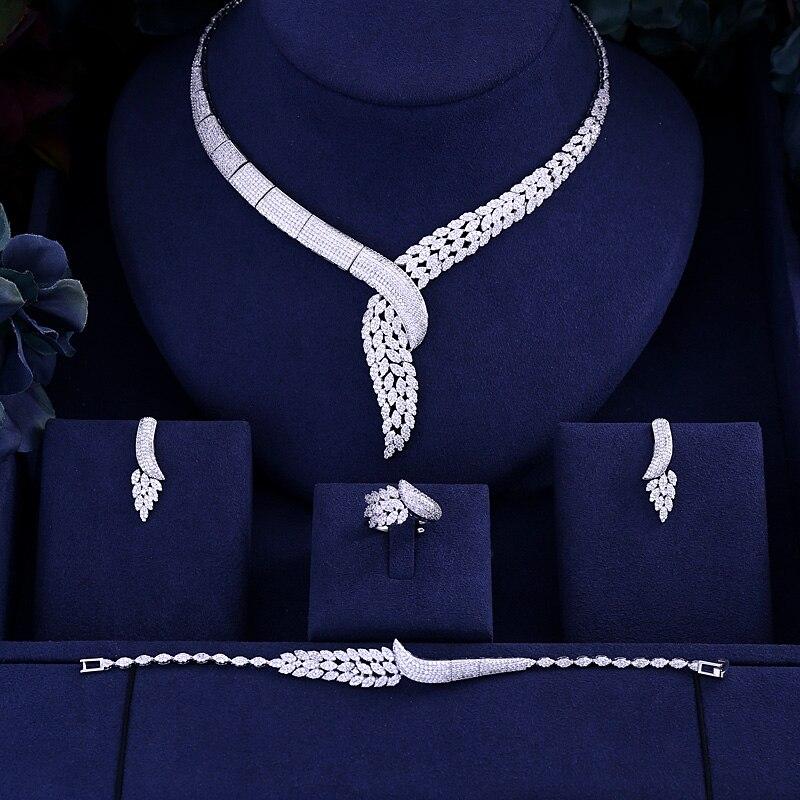 Jankelly Hotsale African 4pcs Bridal Jewelry Sets Dubai Jewelry Set Wedding Party Accessories