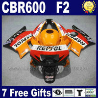 Fullset ABS fairings kits for Honda repsol orange 1993 1994 CBR600 F2 1991 1992 CBR 600 F2 92 93 CBR600 F 91 94 fairing kit+ tan