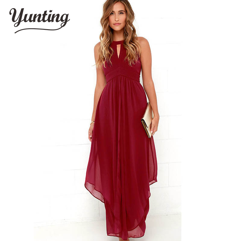 2017 brand high quality wine red dress wedding party maxi for Maxi dress a summer wedding