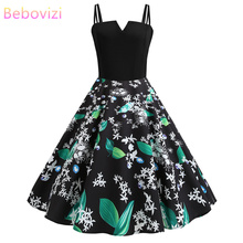 Bebovizi 2019 Summer New Fashion Women Casual Office Elegant Sexy Dress Plus Size Vintage Black Patchwork Flower Print Dresses