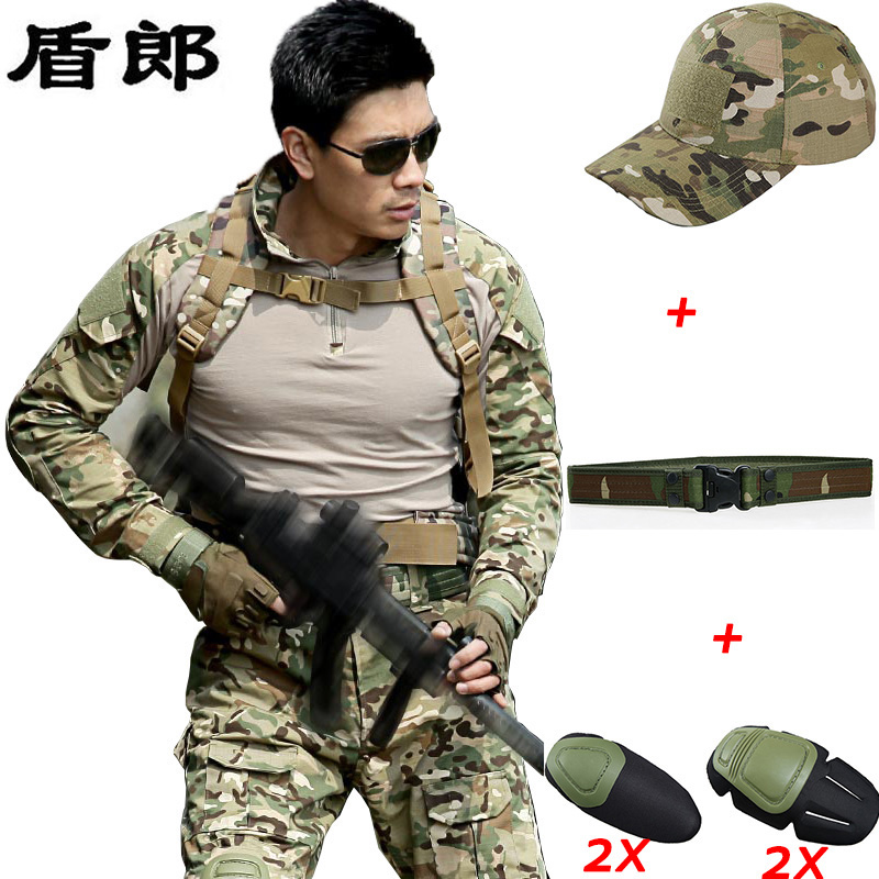 ФОТО Military Uniform Tactical Combat Shirt Pants Camouflage Militar Gear Multicam Uniforms With Knee Pads Hunting CS Sets For Men