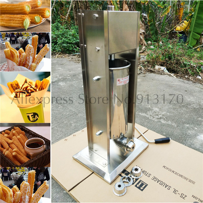 Manual Churros Machine 5L Commercial Stainless Steel Churro Maker Vertival Type and Horizontal Type commercial deluxe stainless steel 3l churro maker 6l electric fryer manual spanish churros making machine capacity 3l