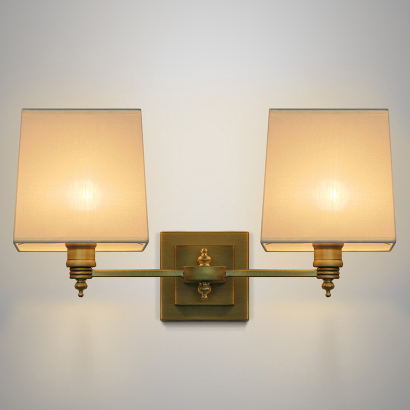 Willlustr fabric wall lamp beige cloth light Europe bronze lighting fixture bedside CLARIDGE DOUBLE SCONCE WITH LINEN SHADE modern bedside lamp wall light minimalist fabric shade wall sconces lighting fixture for balcony aisle hallway wall lamp wl214