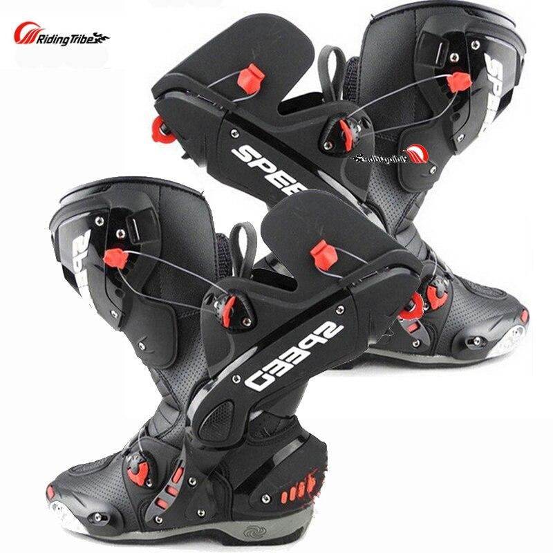 Разделение Для мужчин; мотоботы Racing Скорость мотоциклетные ботинки bota Мотокросс заг ...
