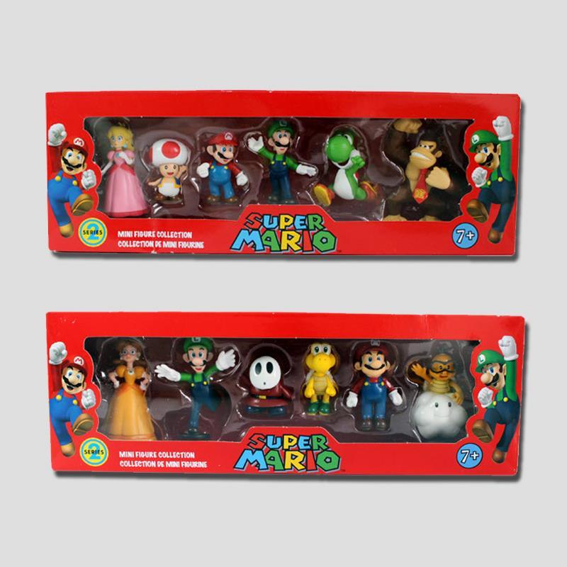 6Pcs/set <font><b>Super</b></font> <font><b>Mario</b></font> <font><b>Bros</b></font> PVC <font><b>Action</b></font> <font><b>Figure</b></font> Toys Dolls <font><b>Mario</b></font> <font><b>Luigi</b></font> Yoshi Mushroom <font><b>Donkey</b></font> <font><b>Kong</b></font> in Gift Box Lovely Kids Gift