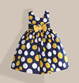 Cotton Baby Girl Dress Yellow Red Dot Printed Summer kids Dress for Birthday Fashion Bow Girls Clothes vestido infantil 3-7T