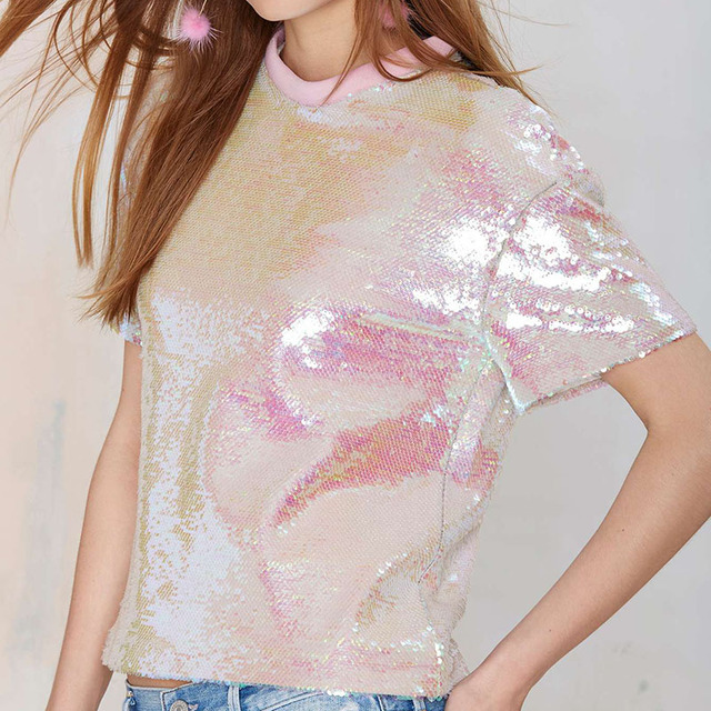 2016 Dulce rosa paillette costilla cuello tejido de punto superior de la manera del todo-fósforo de la corto-manga de la camisa femenina envío gratis