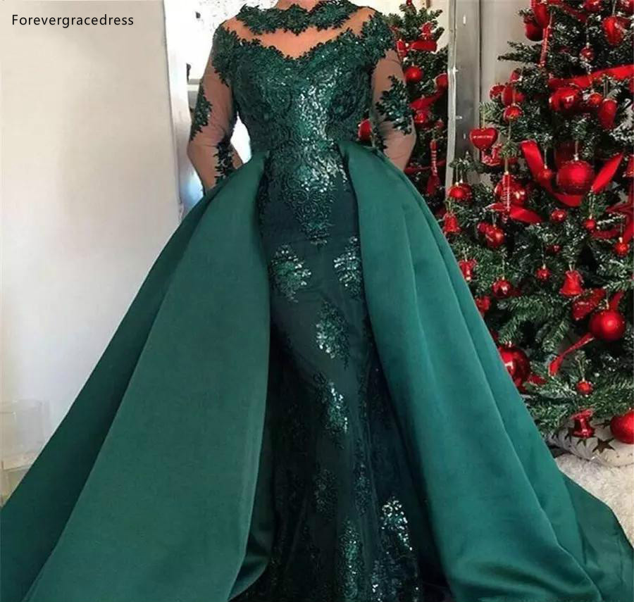 Dark Green Detached Train Evening Dresses Saudi Arabic Formal Evening Gowns Mermaid High Neck Appliqued Sequined Long Vestidos Party Gowns  228 (2)