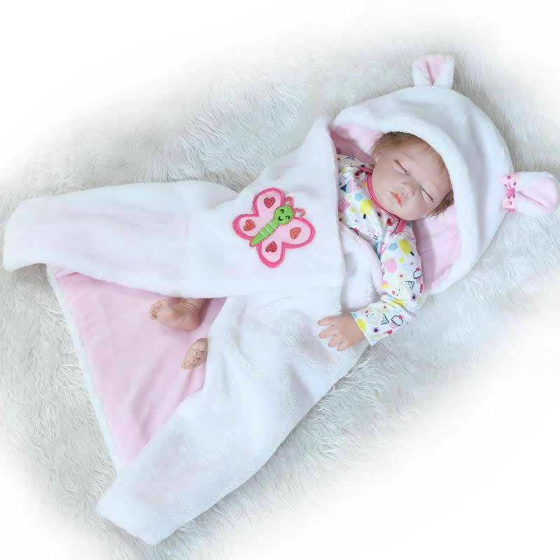 Fashion 22 Inch Reborn Baby Girl Sleeping Silicone Doll Toy Realistic Lifelike Newborn Babies With Curved Mohair For Sale lifelike full vinyl 18 inch american girl realistic doll baby toy waterproof newborn princess babies with pink dress for sale