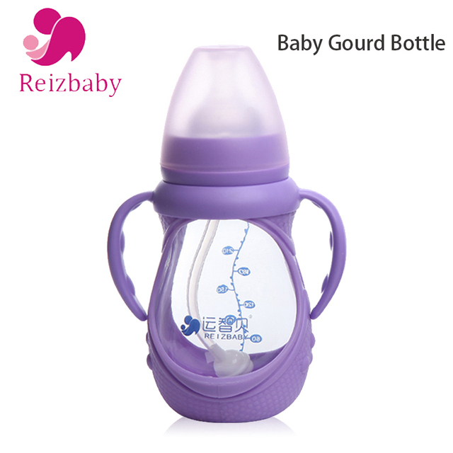 REIZBABY Unbreakable Glass Baby Bottle + Silicone and Handle