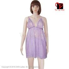 Sexy Transparent purple Latex Negligee Pyjama Nightdress lingerie Rubber pajamas Nighty Pyjamas Camisole BabyDoll plus size
