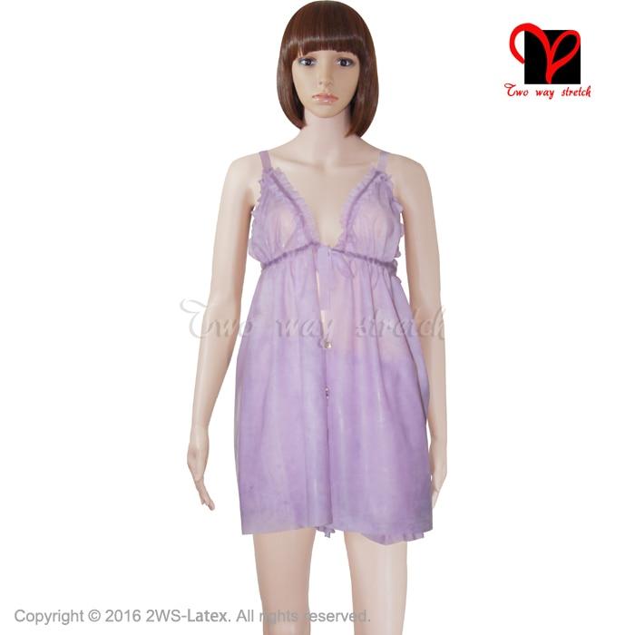 Sexy Transparent violet Latex déshabillé Pyjama nuisette lingerie caoutchouc Pyjama nuisette Pyjamas Camisole nuisette plus NY 006